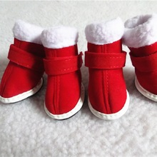 4Pcs/pack Christmas Pet Shoes Snow Boots Small Dog Puppy Rubber Durable Non-slip Warm Teddy Bears WLYANG