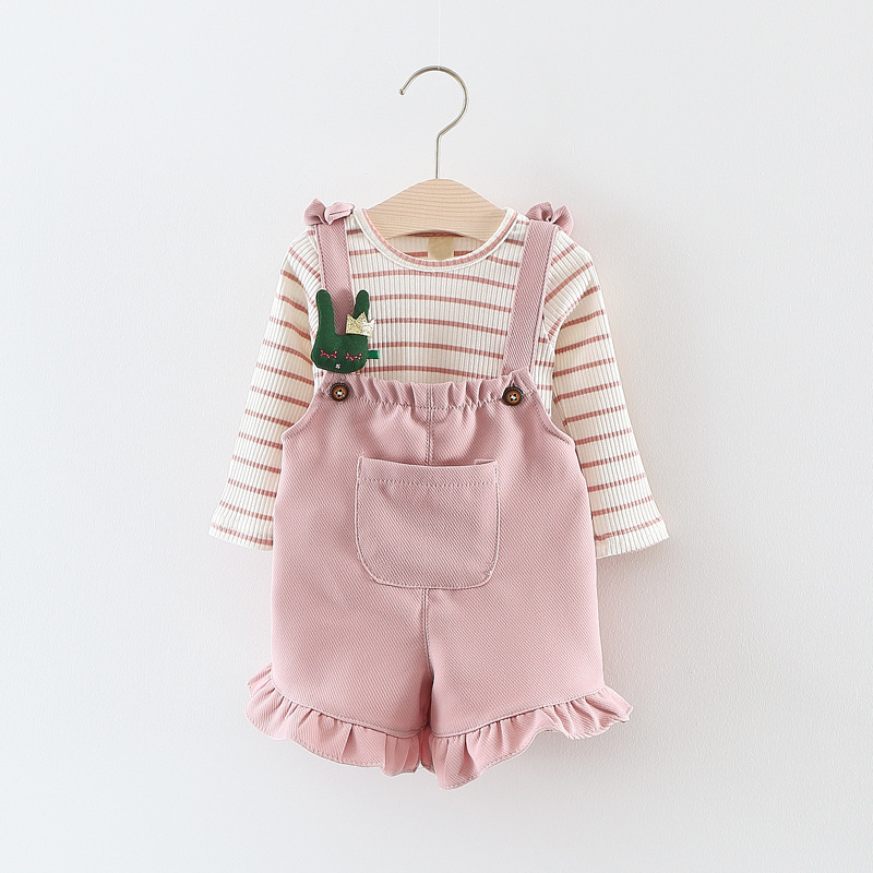Long Sleeve T Shirt + Overalls Baby Clothing Sets Girl Cotton Striped Baby Girls Clothes Sets Spring Style ...
