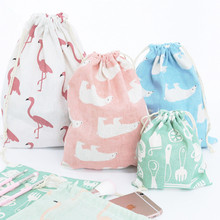 3PCS/lots Cotton and linen drawstring bundle pockets cloth bag Dormitory sundries storage Underwear organizer