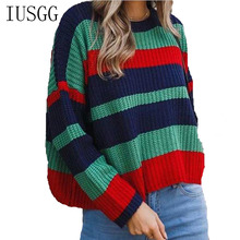 Loose Sweater Hot New Rainbow O-neck Sweaters Women Winter Knitted Jumper Striped Pullover High Elasticity Soft Knit Wear Femme high neck striped knit bodysuit
