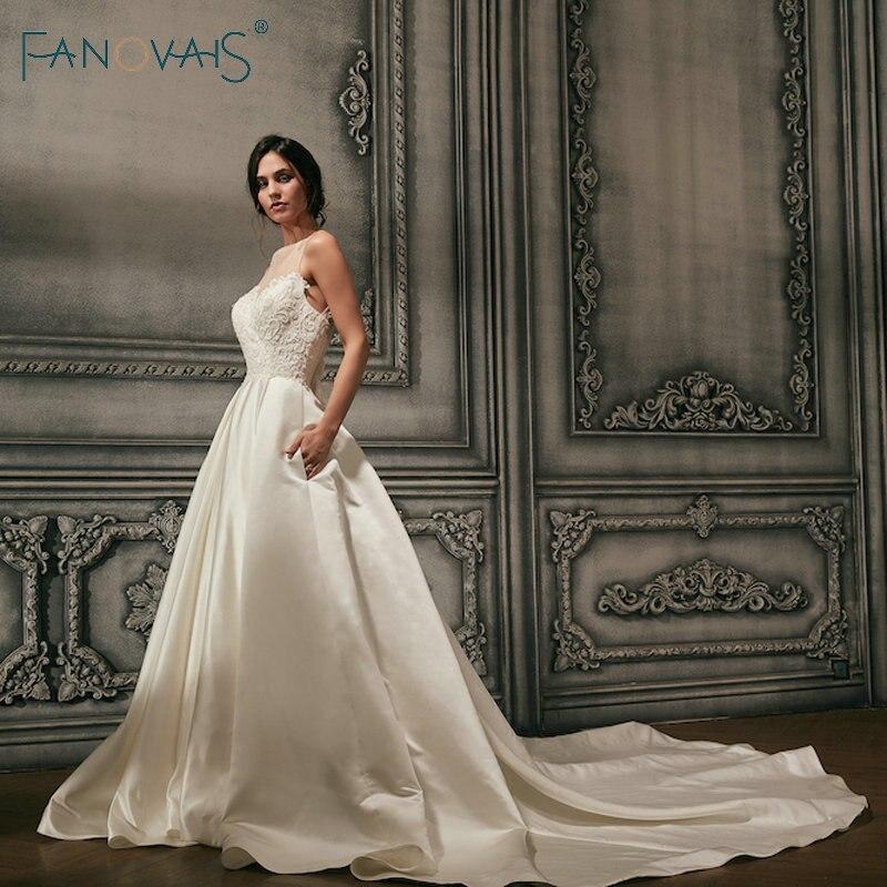 Атласные свадебные платья 2018 Винтаж бусины Иллюзия вырез, Свадебные платья длинный шлейф спинки Сексуальная Vestido De Novia Robe De Mariage