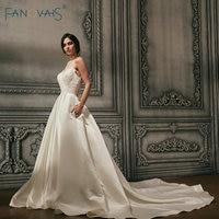 Satin Wedding Dresses 2018 Vintage Beads Illusion Neck Bridal Gowns Long Train Backless Sexy Vestido De Novia Robe De Mariage