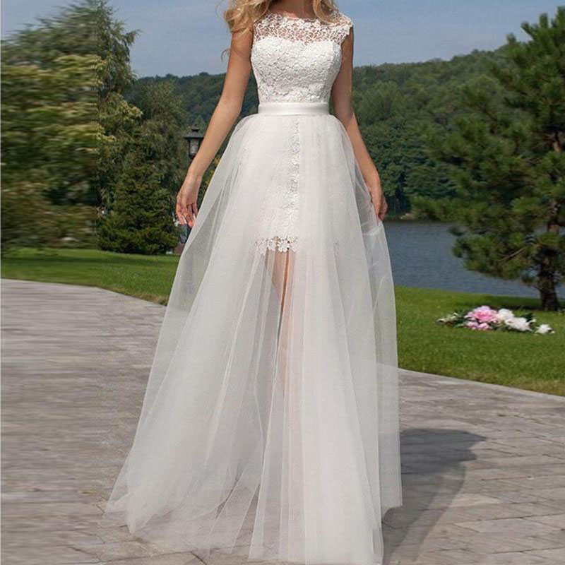 2017 Sexy White Sheer Long Tulle Skirts Transparent Floor Length Overskirt Bridal Wedding Party Gowns Customize Detachable Train