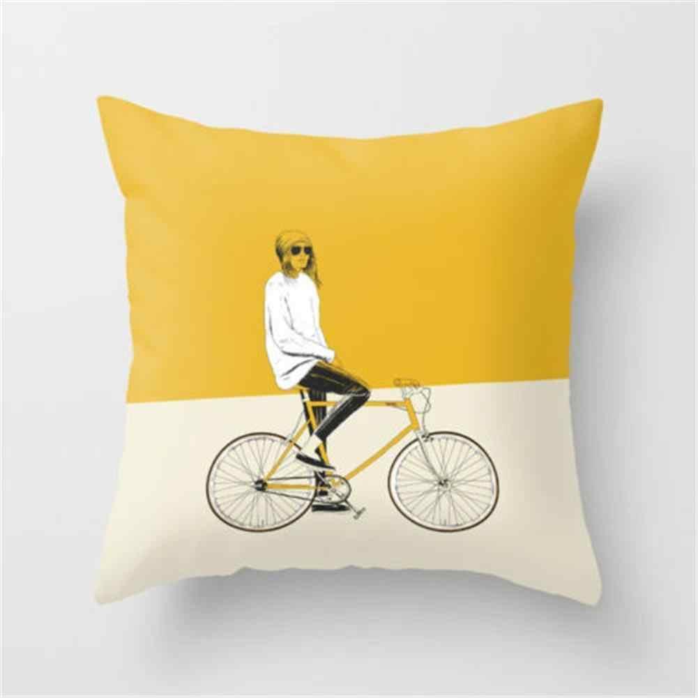 Capa de Almofada de poliéster Amarelo Com Base Impressão Graffiti Home Office Coffee Shop Assento Pillow Covers Decorativa 45 CM * 45 CM atacado