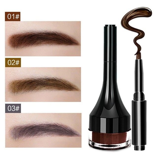 1pcs Eyebrow Gel Pencil Makeup Waterproof Lock Color Cream 2 Colors Eyebrow Tint Brown 3D Natural Eyebrow Pen With Brush 3