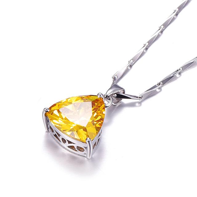 9.35Ct citrine pendant necklace 925 sterling silver chain Geometric Triangle Necklaces&Pendants Jewelry Collar Colar de Plata