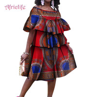 African Dresses For Women Fashion Cotton Casual Dress Ankara Printing Wax Traditional Clothing Plus Size Cupcake Dress WY4746