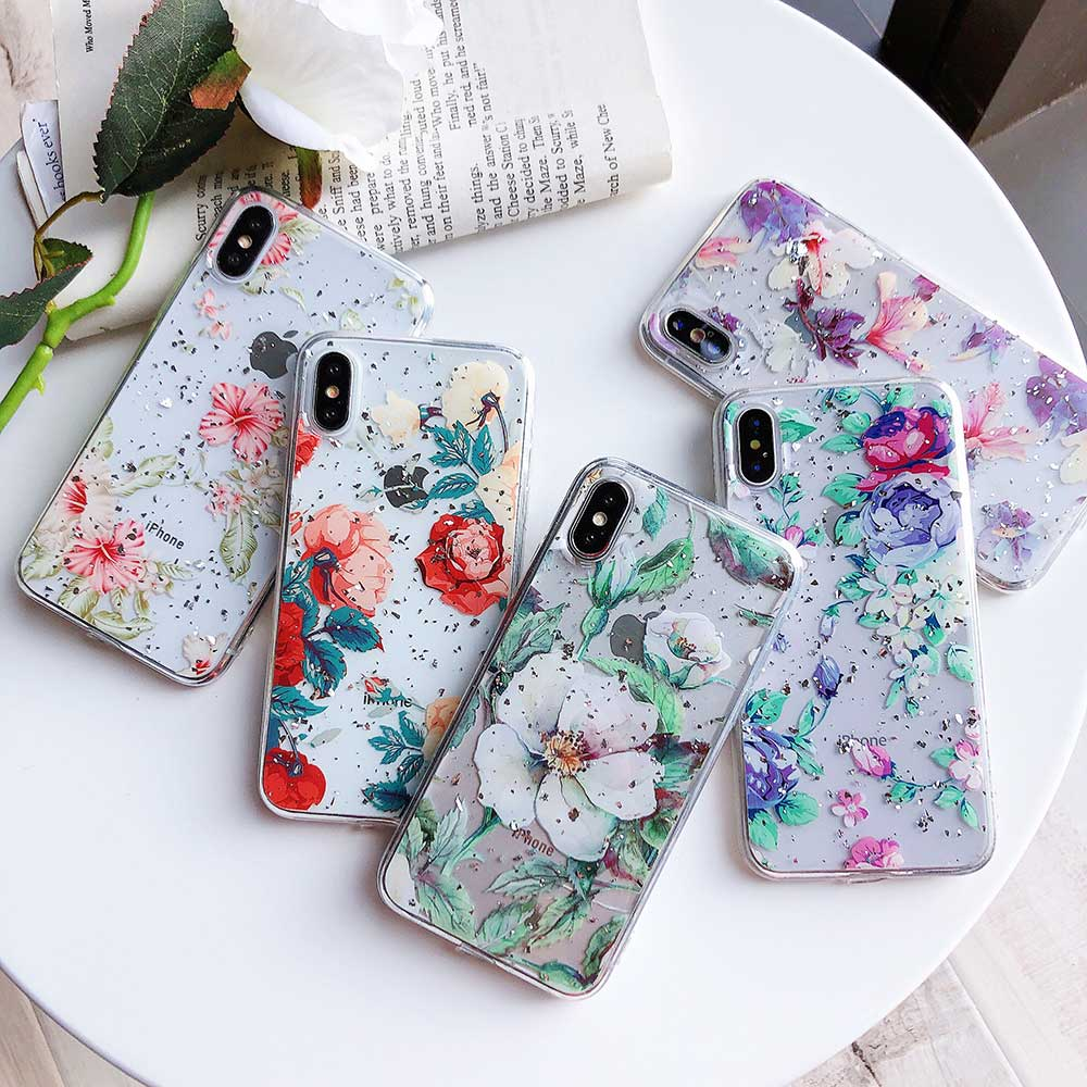 739b0be1bb9 Boucho Gloss Gold Silver Foil Floral Phone Cases For iphone XS Max XR X 7 8 6  6 S