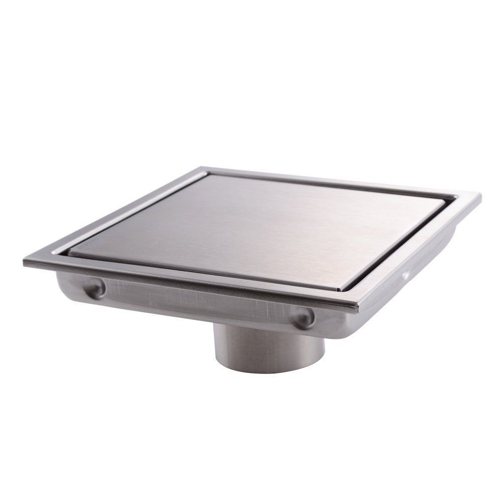 Square Shower Floor Drain With Tile Insert Grate   Sus304 Stainless Steel ,  6 Inch , Multipurpose ,Invisible Look Or Flat Cover