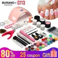 Burano Acrylic Powder & Liquid UV/LED nail lamp Dryer acrylic nail art set acrylic nail kit set with lamp nail tools set 011
