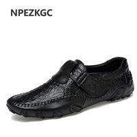 New Spring Summer Men Loafers Slip On Casual Leather Boats Platform Oxfords Shoes Driving Shoes Breathable