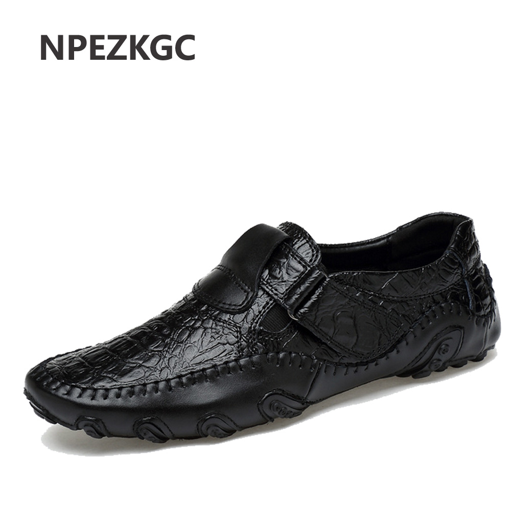 NPEZKGC spring summer men loafers slip-on casual leather boats platform Oxfords shoes driving shoes breathable moccasins pl us size 38 47 handmade genuine leather mens shoes casual men loafers fashion breathable driving shoes slip on moccasins