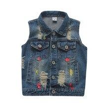 Baby Vest Cotton Stone Washed Denim Waistcoats For Boys Girls Graffiti Vest Destroyed Designer Preppy Style Waistcoat Children