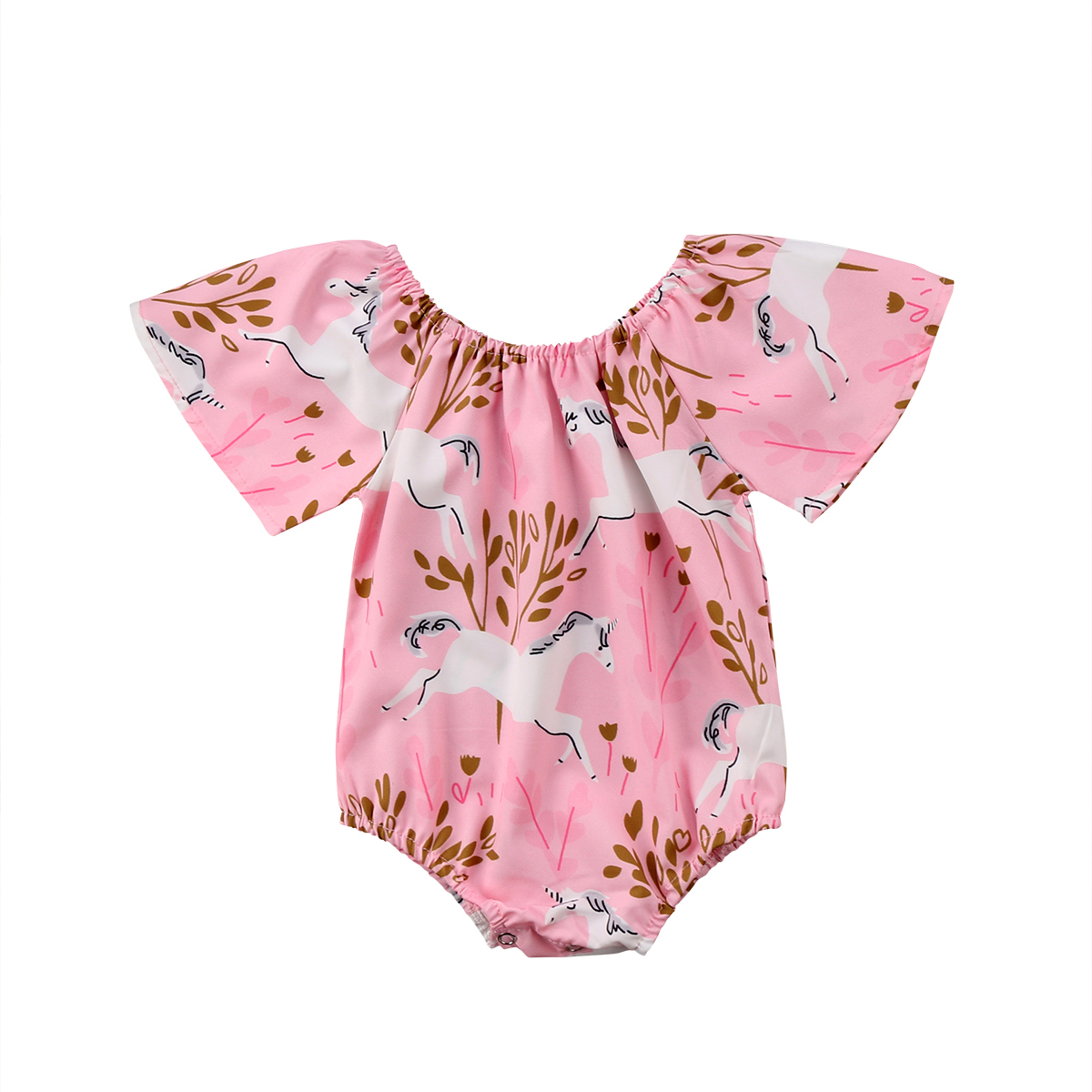 Newborn Baby Girls Unicorn Floral Romper Jumpsuit Outfits