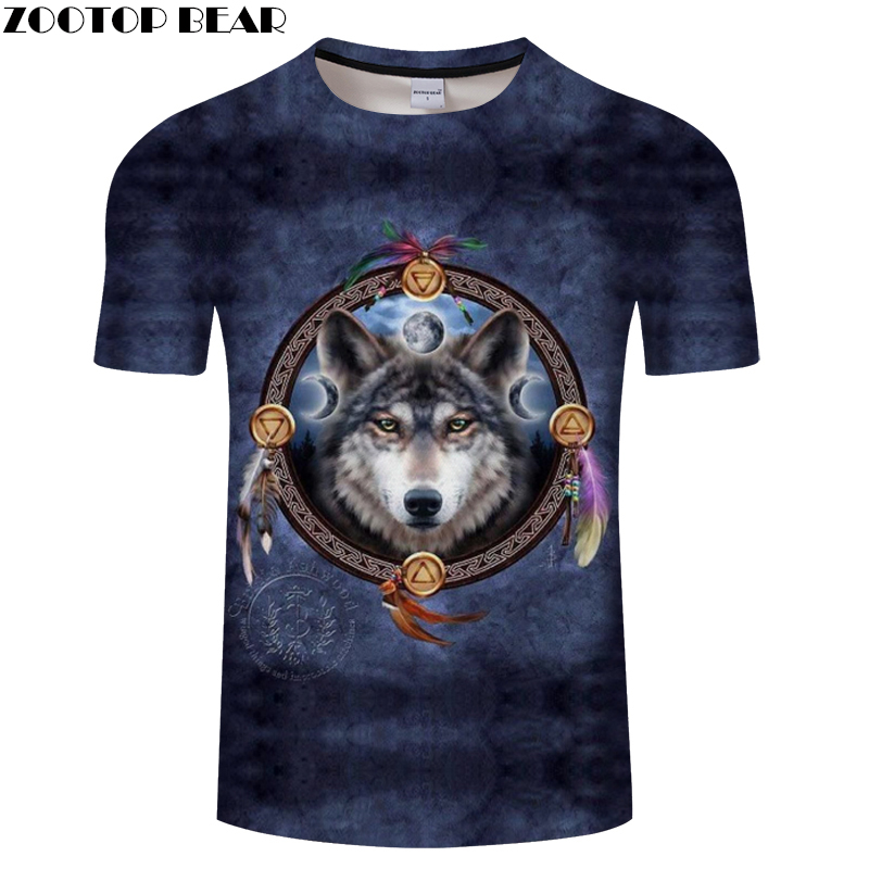 Blue tshirt Howling Wolf t shirt Men Women Tee Male 3D t-shirt Funny Top Streatwear O-neck Short Sleeve 2018 DropShip ZOOTOPBEAR