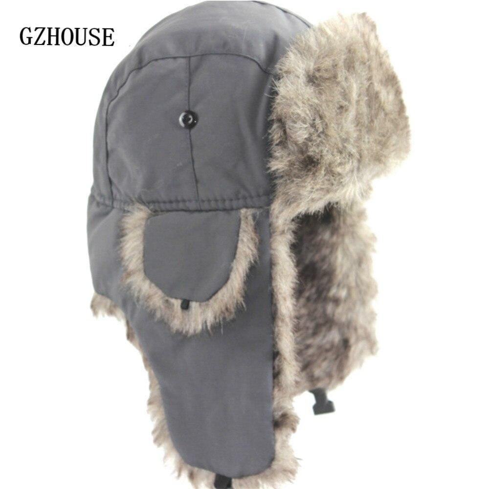 Winter Hat Keep Warm Unisex Winter Trapper Aviator Trooper Earflap 2019 Russian Ski Hat Fur Bomber Faux Fur Fashionable Hats(China)