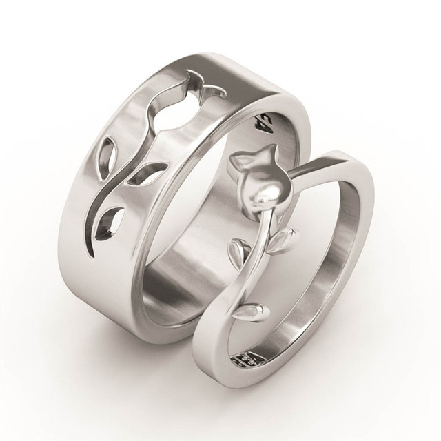 EVBEA His And Hers Wedding Ring Sets Antique Engraved White Gold Flower Couple Mother Daughter Rings