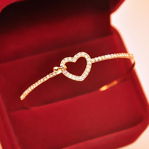 Women's Golden Love Heart Charm Crystal Rhinestone Bracelet Slim Bangle
