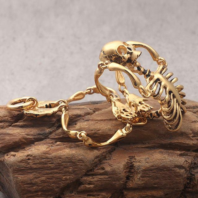 STAINLESS STEEL GOLD SKULL SKELETON BRACELET