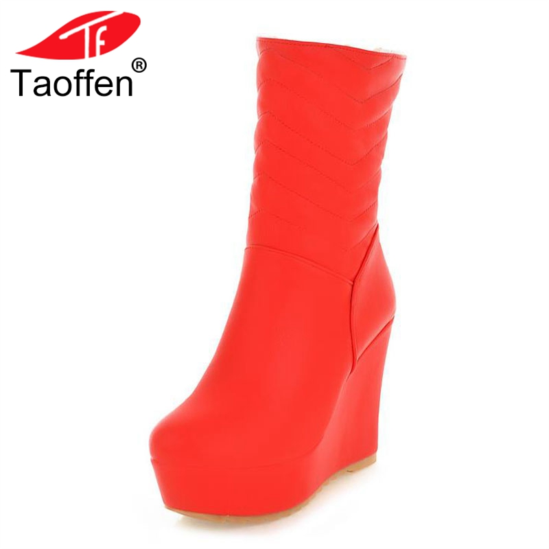 Taoffen Fashion Women High Wedges Boots Platform Warm Shoes Women Winter Round Toe Thick Sole Shoes Mid Calf Boots Size 34-39 big size 34 43 advanced nubuck leather mid calf fashion round toe wedges boots for women 5 color new women boots