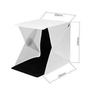 """Image 2 - Tragbare Falten 23 cm/9 """"Leuchtkasten Fotografie LED Licht Zimmer Foto Studio Licht Zelt Weiche Box Kulissen für digitale DSLR Kamera"""