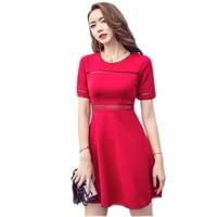 Summer Dress Temperament Black Red Korean Women Dress Slim High Waist A Line Dresses Female Hollow Out Fashion Laides Dresses