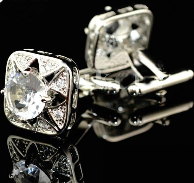 Pulsuz çatdırılma Crystal Cufflinks 6 rəng seçimi dəyirmi - Moda zərgərlik - Fotoqrafiya 5