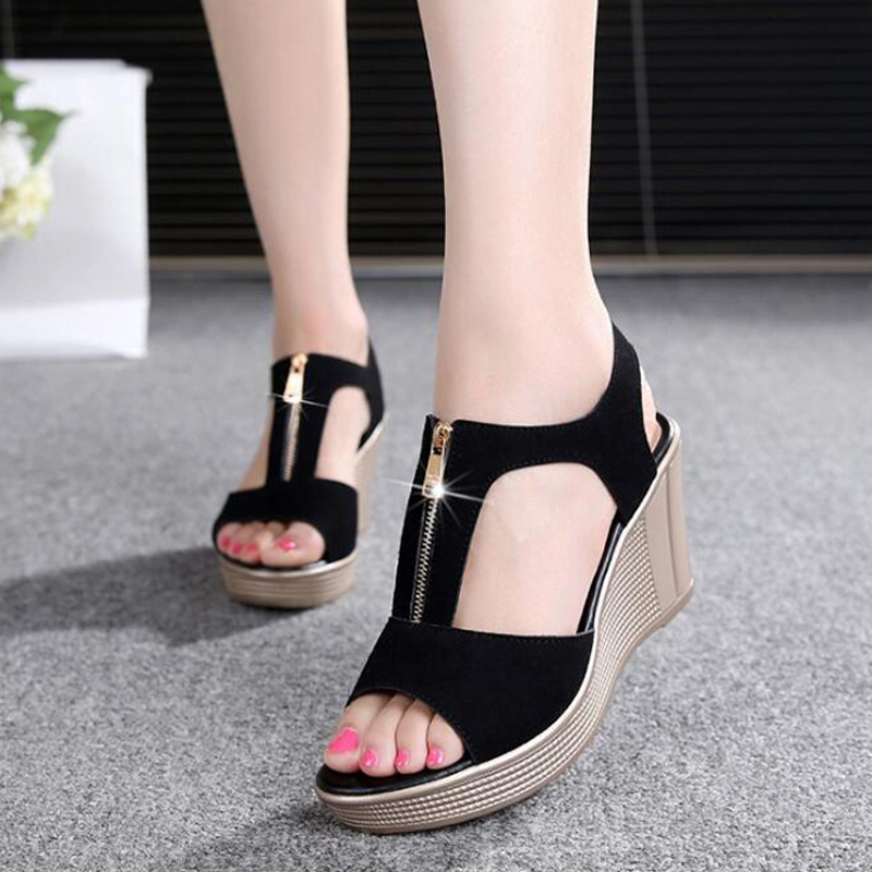 verktaka 2019 platform wedge women zipper solid summer