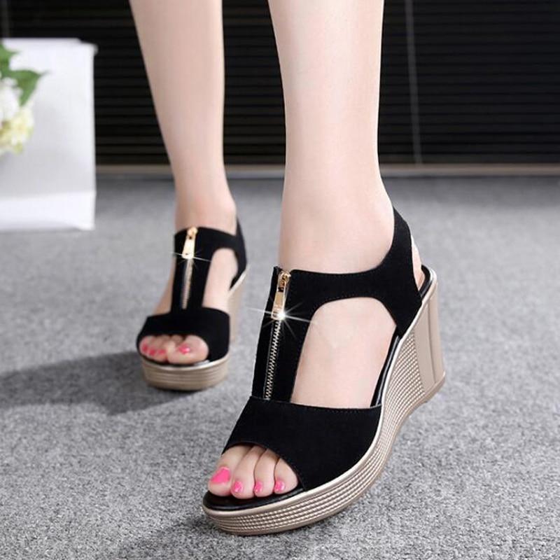 2019 Sommer Frauen Sandalen Plattform Keil Sandalen Frauen Zipper Solide Sommer Schuhe Gladiator Sandalen Große Größe 32-43