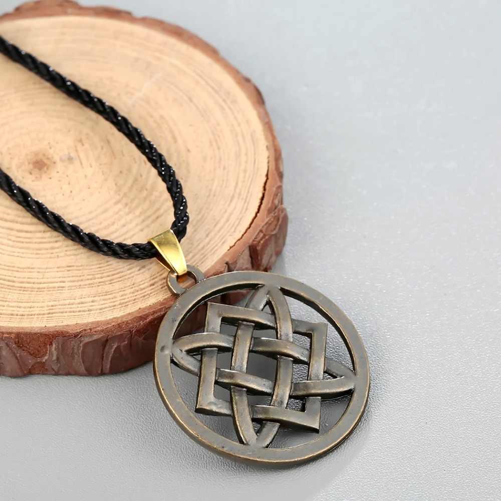Cxwind Punk Slavic Virgin Lada Star Pendant Necklace Slavic Lada Amulet Irish Knot Pendant Choker Necklaces Rope Chain Jewelry