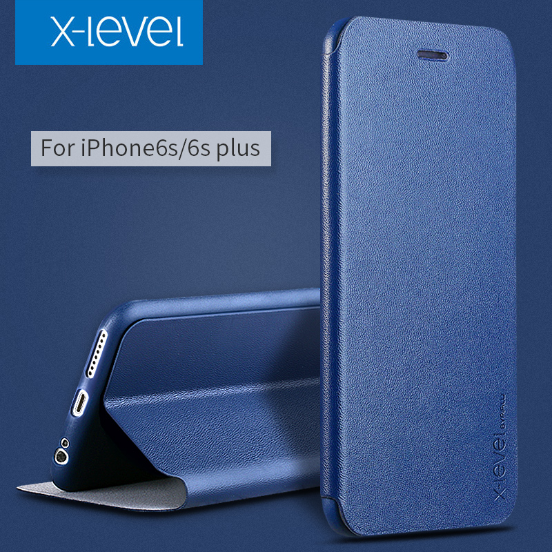 X nivel pu leather case para iphone 6s estilo de empresas flip teléfono case par