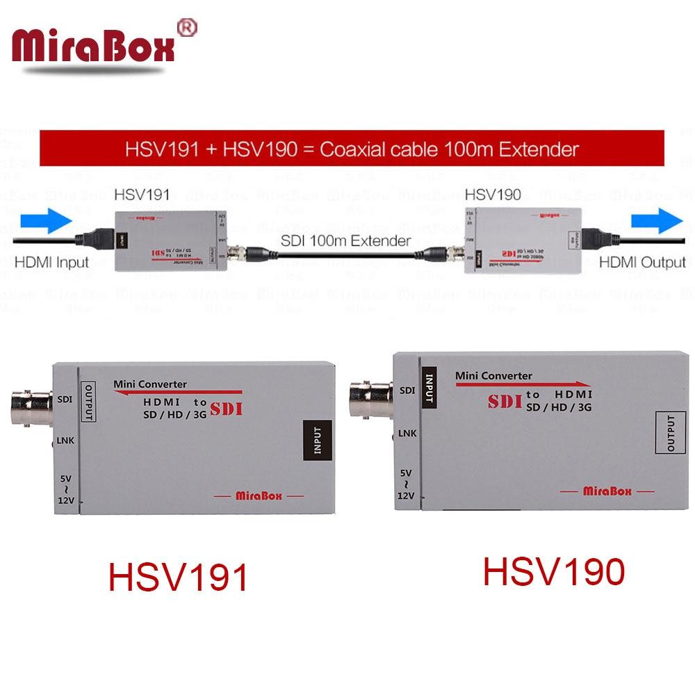 Mirabox 100m hdmi sobre o extensor coaxial mini tamanho hdmi ao conversor de sdi + sdi ao conversor hdmi hdmi extensor sobre o cabo coaxial