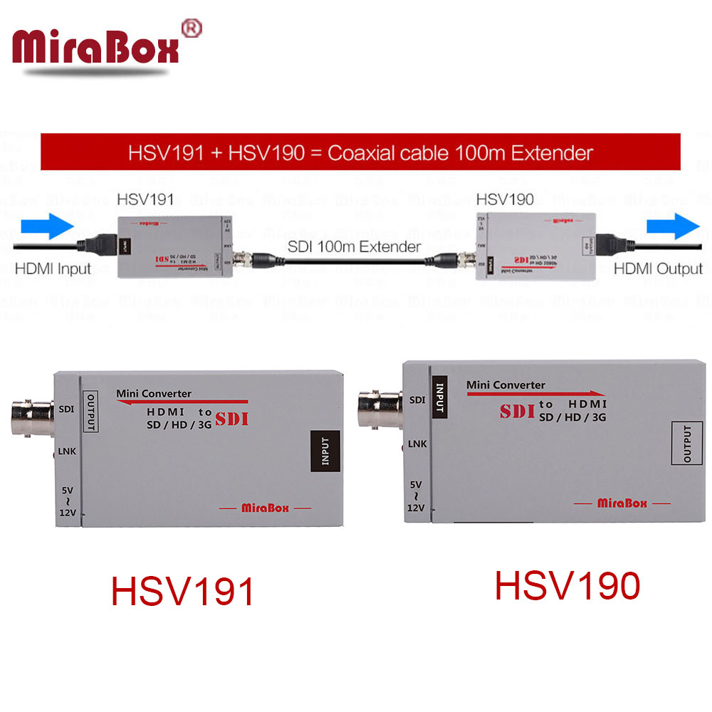 MiraBox 100m HDMI over Coax Extender Mini Size HDMI to SDI Converter+SDI to HDMI Converter HDMI Extender over Coaxial Cable hsv379 hdmi extender over coaxial cable with no latency time and video lossless hdmi coax transmitter and receiver by rg59 6u