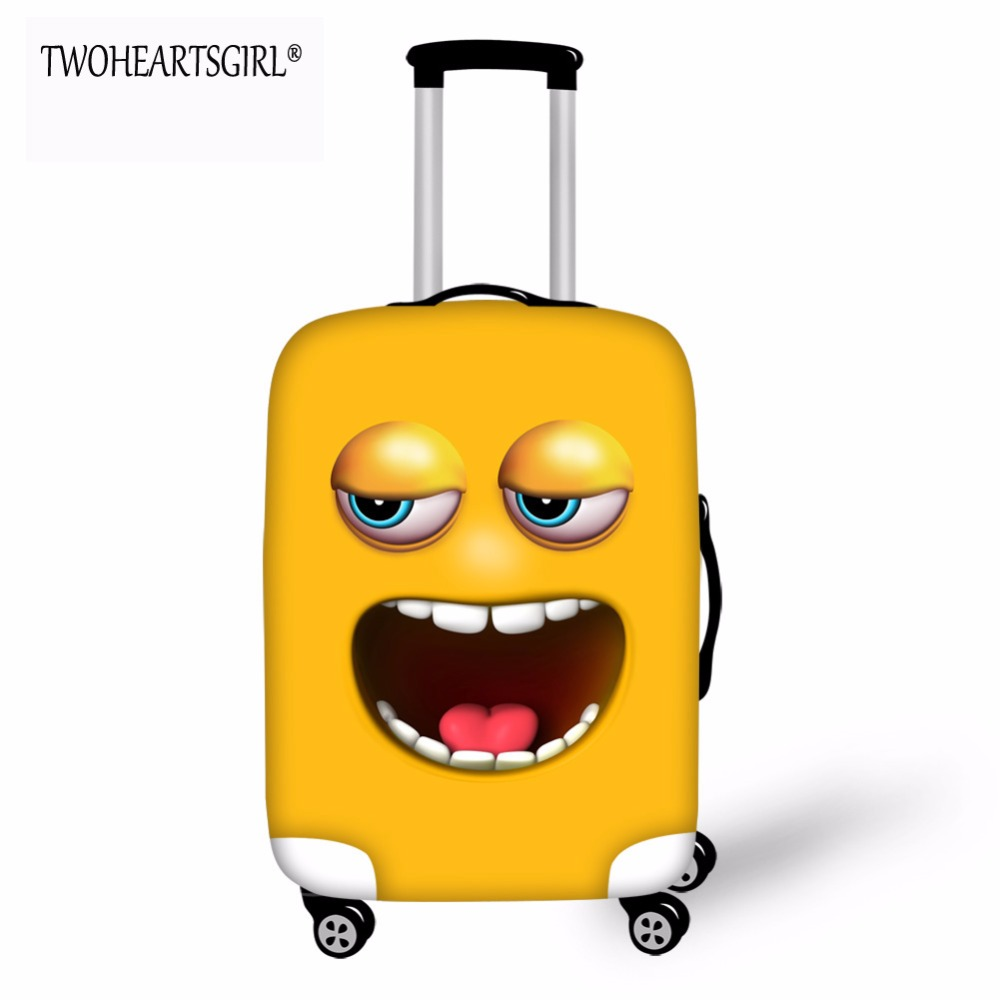 TWOHEARTSGIRL Funny Smiling Faces Printed Luggage Cover Anti-dust Scratch-resistant Suitcase Cover For 18-32 Inch Trolley Case