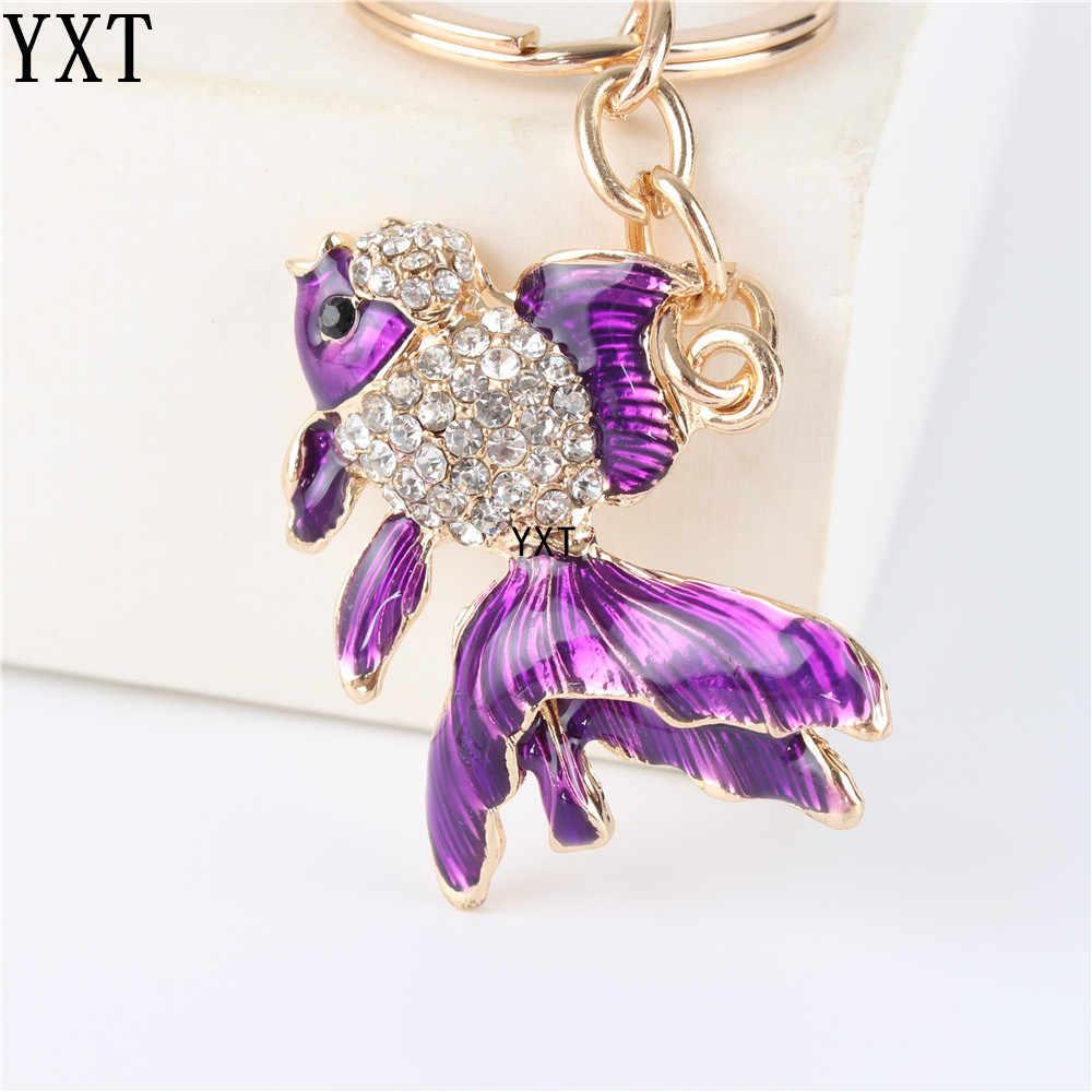 Милая фиолетовая Золотая рыбка симпатичный с кристаллами Шарм кошелек сумочка автомобильный брелок вечерние подарок на день рождения
