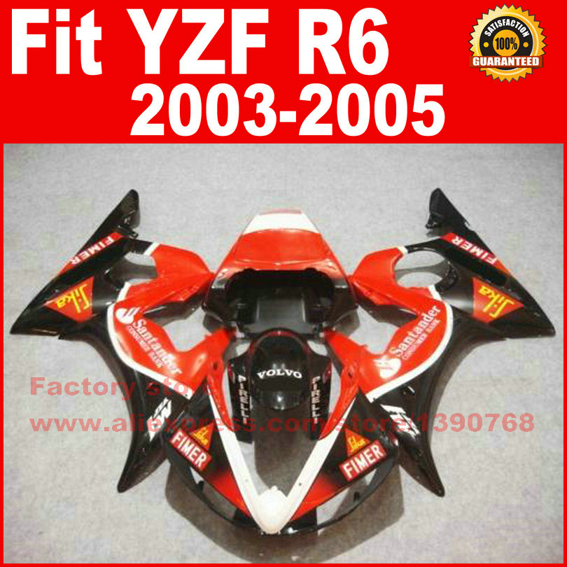 ABS Road Motorcycle body fairings kit for YAMAHA R6 2003 2004 2005 YZF R6 03 04 05  santander fairing bodywork part road race motorcycle fairings kit for yamaha r6 2003 2004 2005 yzf r6 03 04 05 black silver fairing kits bodywork part