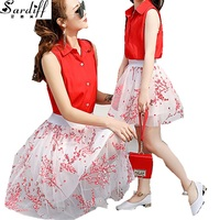 Sardiff 2017 Family Matching Outfits Red Beach Flower Clothes Summer 2 Pieces Skirts Sleeveless Top Fashion See Trought Skirt