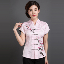 New Fashion Pink Summer Women's Elegant Painting Blouse Chinese Traditional Shirs Button Tops M L XL XXL 3XL 080408