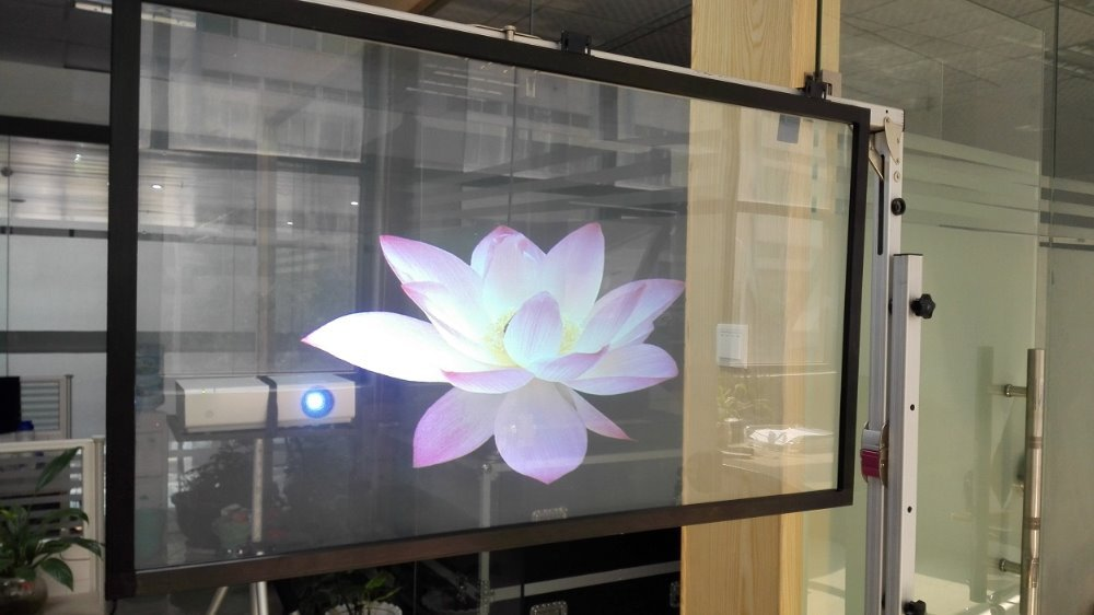 Transparent Holographic Screen for window display, Rear Projection Screen Film 1.52x7 Meter 24 dark gray gray white holographic rear projection screen transparent rear projector film indoor hologram advertising
