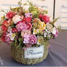 10 peony flowers,Artificial flower bouquet of plastic silk f