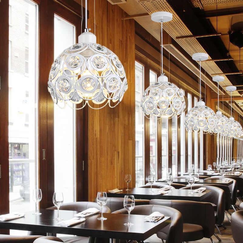 Современные хрустальные подвесные лампы дизайн Белый/черная железная люстра для дома подвесные светильники бар декор гостиной освещение E27