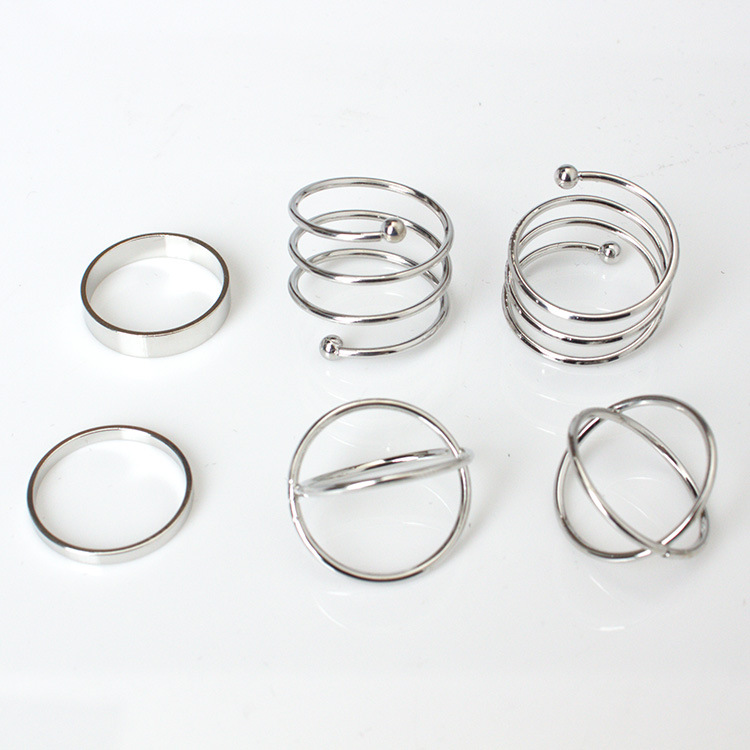 2019 Hot unique set of rings punk fist gold rings for women ring finger 6 pcs. ring set best selling 3