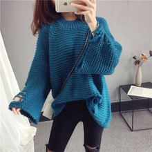 Women Sweater Pullover 2019 Spring New Korean Sweater Loose Trumpet Sleeve Knit Pullover Sweater Female Hole Fashion Tops NO630 women cloak sweater 2019 autumn new loose bat kitted sweater embroidery fashion tops spring leisure women pullover knitwear fc90