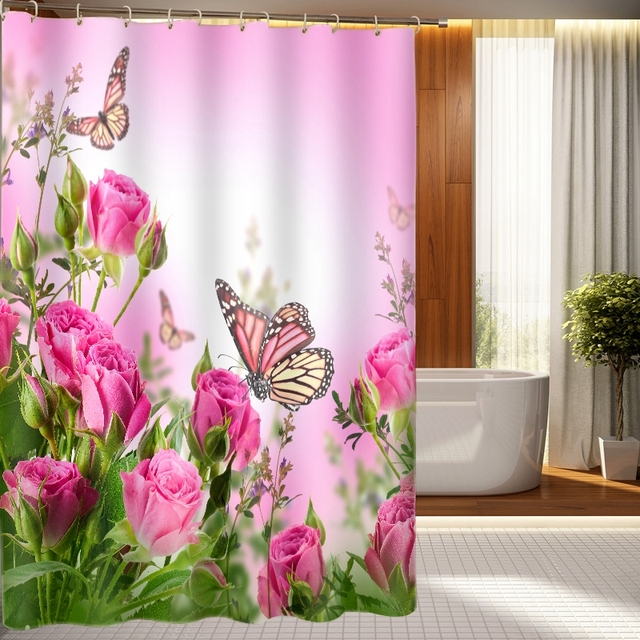 New 3D Shower Curtains Red Flowers Butterflies Pattern Waterproof Fabric Bathroom Washable Products