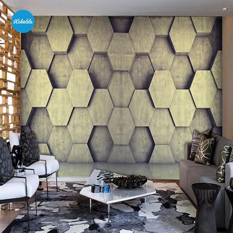 XCHELDA 3D Mural Wallpapers Custom Painting Hexagon Geometric Design Background Bedroom Living Room Wall Murals Papel De Parede custom 3d wall murals wallpaper luxury silk diamond home decoration wall art mural painting living room bedroom papel de parede