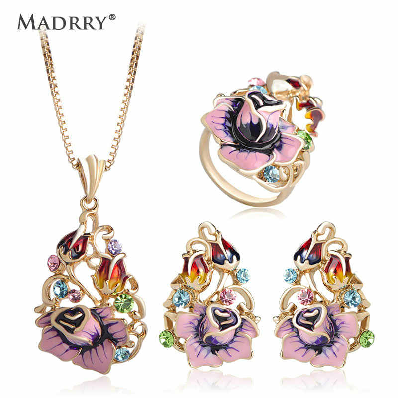 Mardrry Colorful Flower Jewelry Sets Hollow Exquisite Enamel Craft Pendant Necklace Earrings Ring Sets For Women Party Wedding