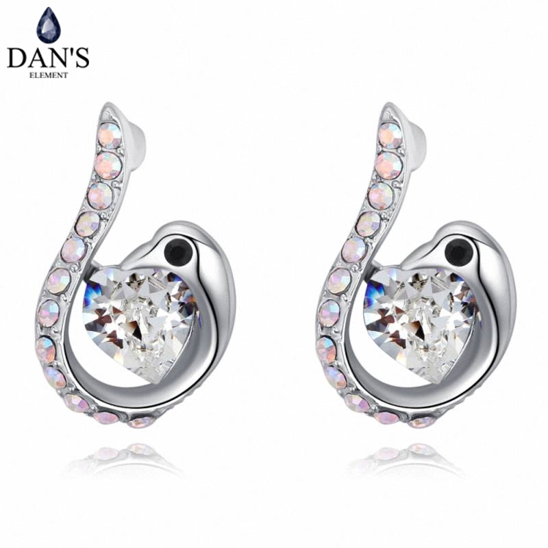 DANS 5 Colors Real Austrian crystals Stud earrings for women Earrings s New Sale Hot Round 129566