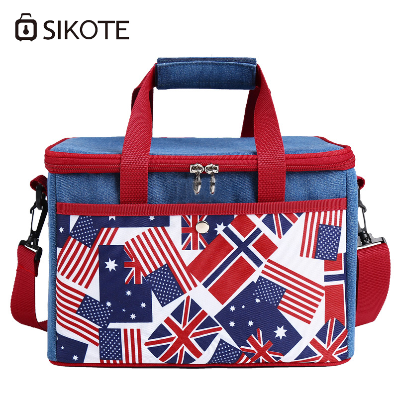 SIKOTE Lunch Bags For Women Thicken Storage Portable Bolsa Termica Lunchbox Thermal Insulated Denim Cooler Bag Fresh Keep electric lunch box double layer stainless steel liner cooking lunch boxes multifunction plug in lunch box steamed rice steamer