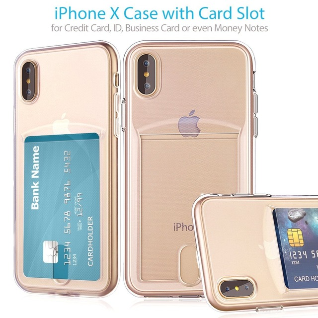 buy popular 6fc9e 74037 US $1.54 20% OFF|Credit Card Slot Transparent TPU Phone Case For iPhone X 7  8 6S 6 Plus 7Plus Cases Ultra Slim Crystal Clear Silicon Back Cover-in ...