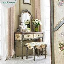 Louis Мода Американский комод Спальня твердой древесины чистый красный ветер макияж Таблица квартира пространство провинциальный Европейский сад